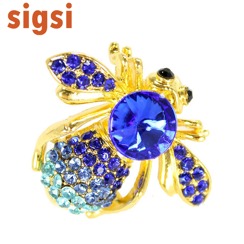 100pcs a lot 1 .25H x 1 .25W inches Royal Blue Crystal Rhinestone Large Bead Gem Abdomen Fly Bee Bug Fashion Pin Brooch