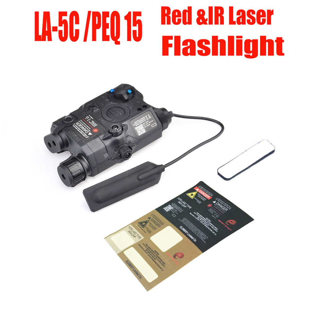 Airsoft PEQ 15 / LA-5C UHP Tactical Flashlights Appearance Red Laser Dot Light Softair IR Infrared Military Battery Case element peq la 15 airsoft tactical military battery case with red dot laser and ir fits for standard 20mm rail lens bk