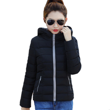 2017 candy color hooded winter women basic jacket cotton padded casaco feminino womens slim short outerwear womens coat