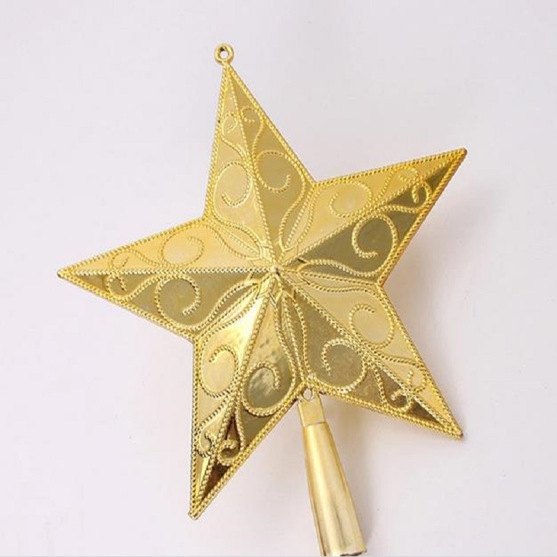 1pcs new year 3d christmas star plasitc treetop christmas tree ornaments star gold strap christmas decorations china - Christmas Star Decorations