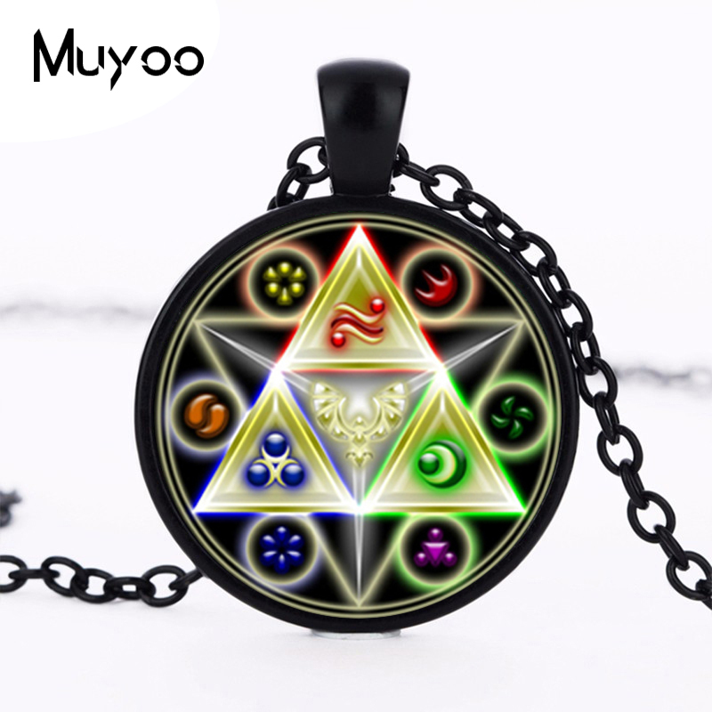 2017 new hot Legend of Zelda Necklace Gate of Time Hyrule Historia Emblem inspired Glass Dome Zelda Pendant Necklace HZ1