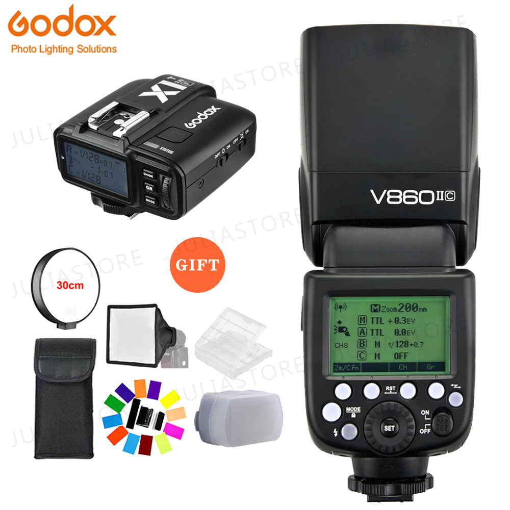 Godox V860II-C V860IIC Speedlite GN60 HSS 1/8000s TTL Flash Light +X1T-C Wireless Flash Trigger Transmitter for Canon + Gift KitGodox V860II-C V860IIC Speedlite GN60 HSS 1/8000s TTL Flash Light +X1T-C Wireless Flash Trigger Transmitter for Canon + Gift Kit