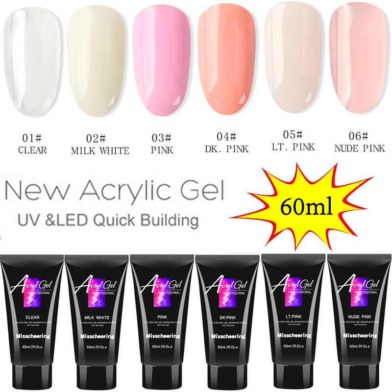 60ml Crystal Breiden UV Nail Gel Extension Builder Led Poly Nail Gel Nail Art Gel Lak Jelly Acryl Builder UV Nail Poly Gel