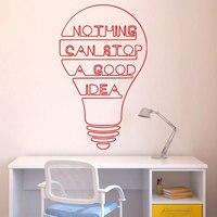 Çıkarılabilir Iyi Fikir Ampul Kelimeler Motivasyon Alıntı Duvar Çıkartması Art Sticker Vinil İlham alıntı duvar çıkartması alıntı Sticker WY-8