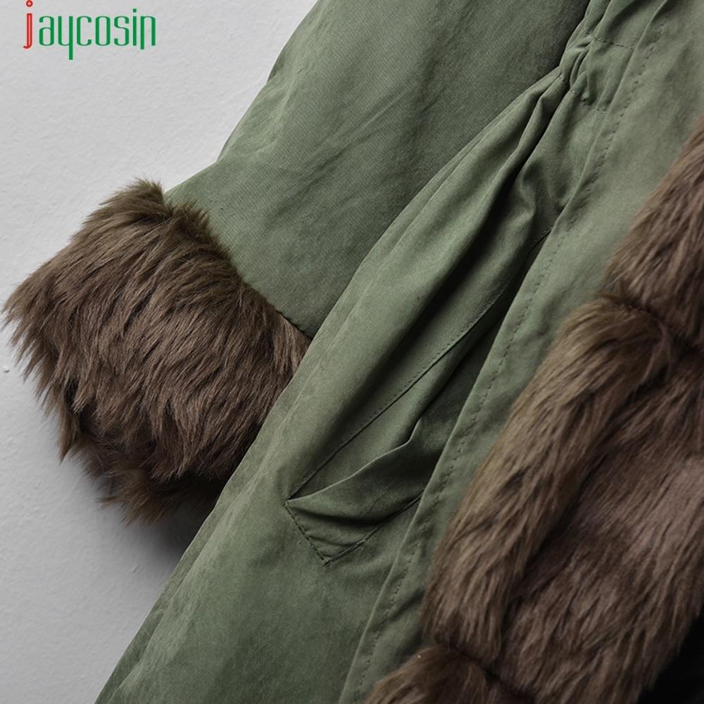 e f Long Vert Luxe Femelle b g Chaud d Jaycosin c Plus Outwear 2018 Veste Capuchon De Fourrure Coton Col A N La h i Mode À Taille Polaire Armée 7Fxxqw54