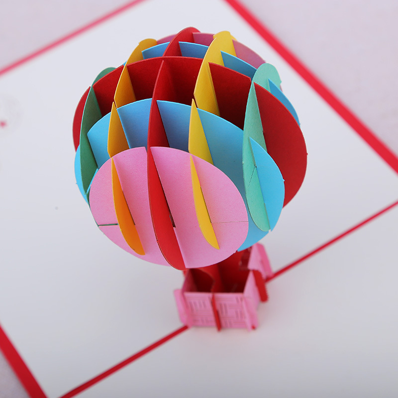 3d pop up card fire balloon paper card postcards greeting for 3d decoration for birthday