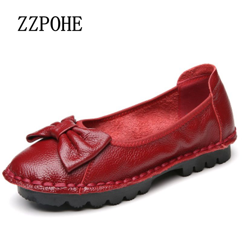 ZZPOHE 17 spring new women's shoes fashion leather soft soled mother's shoes casual and comfortable ladies flat shoes size 40 41 sgesvier comfortable senior leather fabrics simple and easy red green and four color yellow women flat shoes size 34 41 xt21