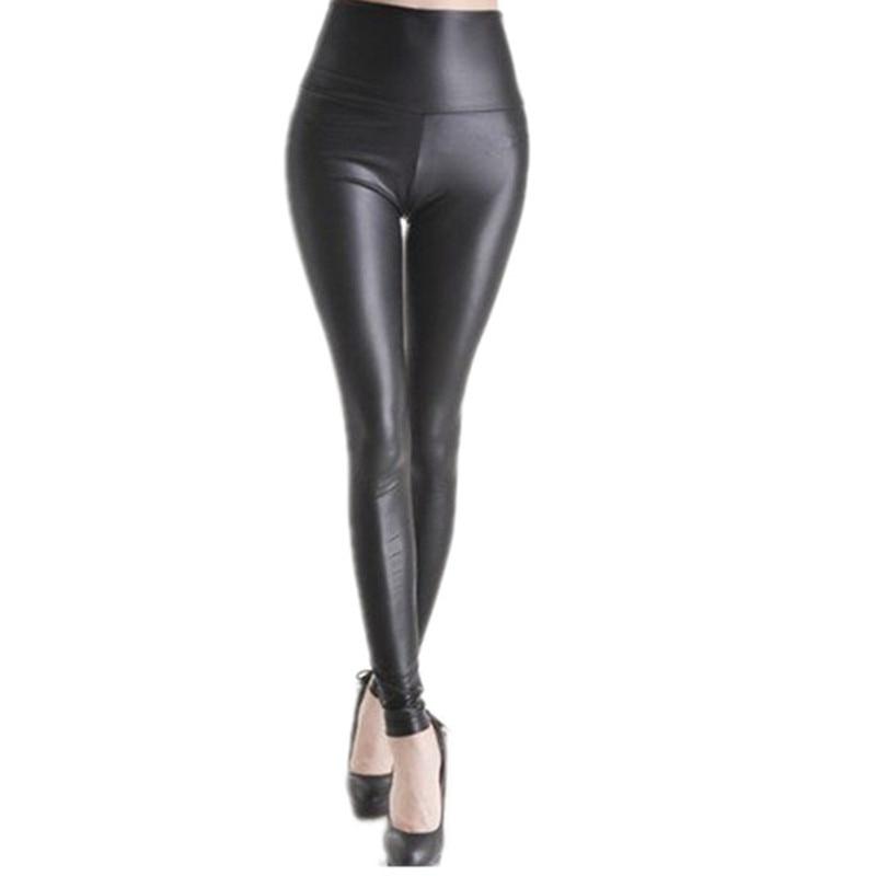 2017 Women Sexy Black Faux Leather Leggings High Waist Slim Leggings With Elasticity Leggins Women E1