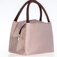 New Fashion Lunch Bag Insulated Thermal Cooler Striped High Quality Oxford Cloth Creative Travel Bag Picnic