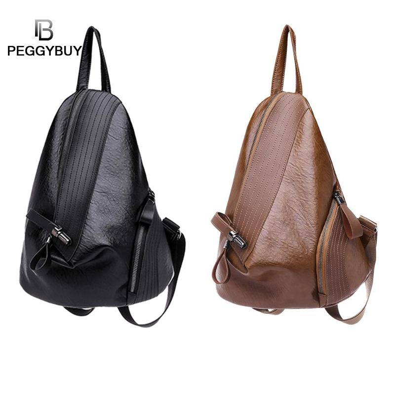Creative Leisure Women Backpacks Women's Pu Leather Backpacks Female School Shoulder Bags For Teenage Girls Travel Back Pack