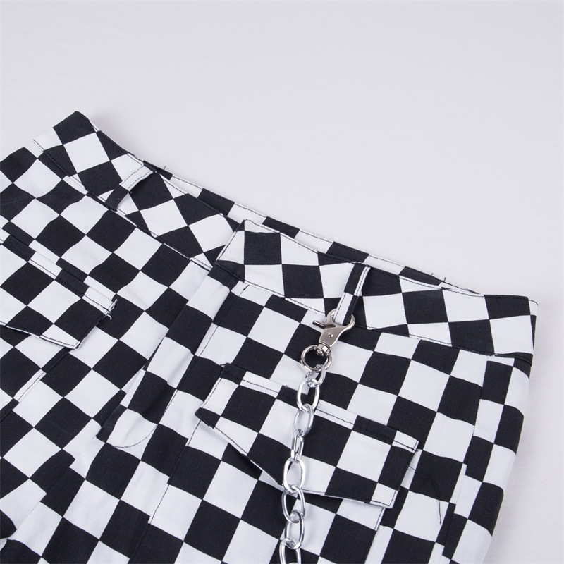 Image 5 - 2019 Fashion Women Plaid Pants Hip Hop High Waist Joggers Loose Pants Checkerboard Pantalon with Chain Female Plaid Trousers-in Pants & Capris from Women's Clothing