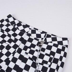 Image 5 - Модные женские клетчатые брюки 2019, джоггеры с высокой талией в стиле хип хоп, свободные брюки, шахматные Панталоны с цепью, женские клетчатые брюки