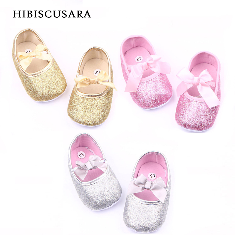 Shiny Baby Girl Princess Shoes PU Leather Infant Bebe Spring Summer Crib Shoes Sequined Glitter First Walkers Ribbon Bowknot