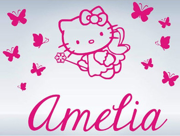 Superb Hello Kitty Butterflies Custom Name Vinyl Wall Decals Wall Stickers Girls  Princess Room Decor Free Shipping Large Size:92x70cm