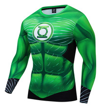 Green Lantern New 3D T-shirt Men Compression Shirt Marvel Tshirts 2019 Halloween Cosplay Costume Long Sleeved For Male S-3XL