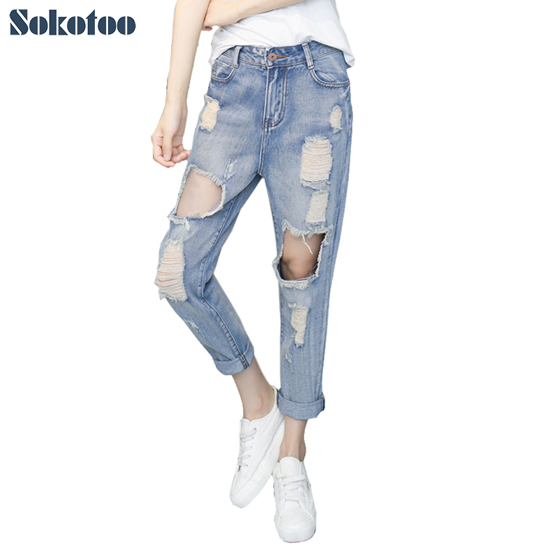 Women's Clothing Jeans Hearty Women Boy Friend Jeans With Holes Elasitc Waist Straight Denim Girls Ankle Length Ripped Jeans For Women Plus Size