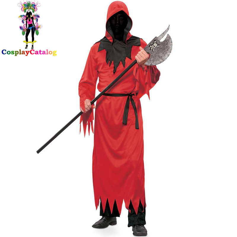 Mens Devil Lord Red Costume Halloween Fancy Zombie Clothes Party Outfit Adult Hell Costumes