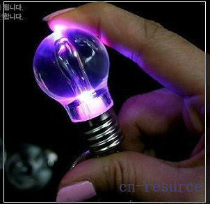 4 Color LED Colorful Bulb Light Keychain Acrylic Lamp