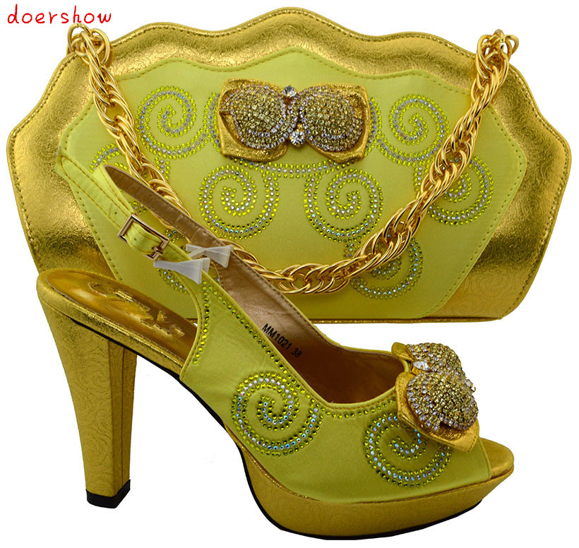doershow 2016 Italian font b Shoes b font With Matching Bags For Party High Quality African