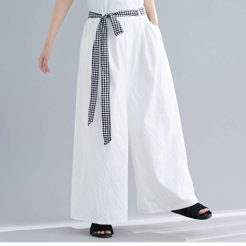 Johnature Summer 2019 New Plus Size Wide Leg Pants Elastic Waist Tie Loose Casual Solid Color Linen Women Full length Pants-in Pants & Capris from Women's Clothing on AliExpress - 11.11_Double 11_Singles' Day 1