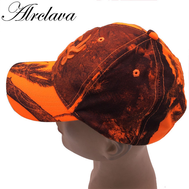 f73174e738f Hunting Orange Camouflage Cap With Deer Water-proof Adjustable Baseball Hat  Tactical Outdoor Camo Cap