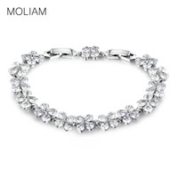 MOLIAM Hot New Fashion Zircon Crystal Bracelets With Extender 18K Gold Platinum Plated Flower Bangle For