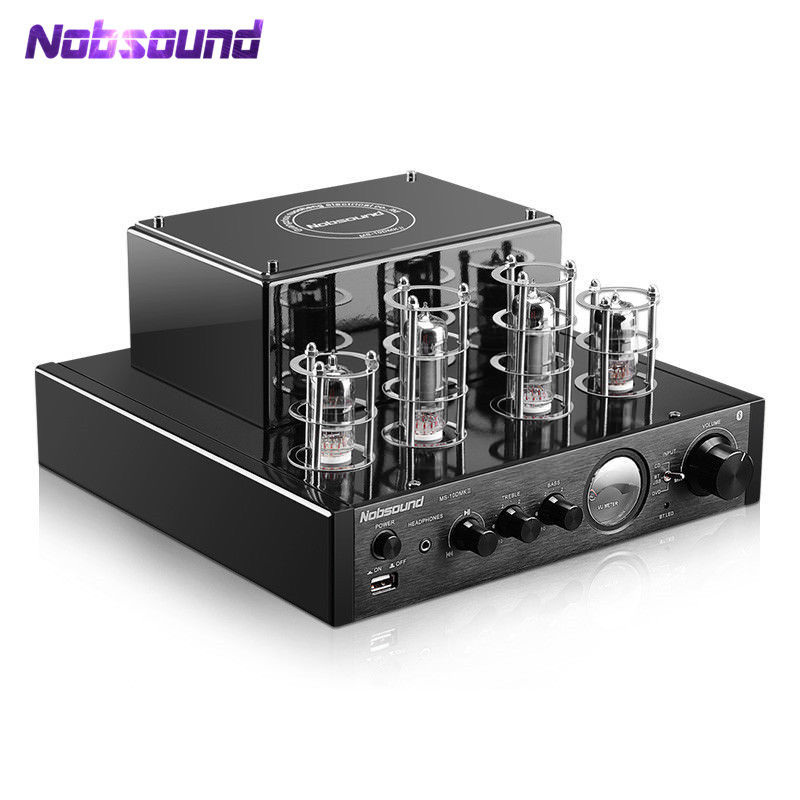 Nobsound MS-10D MKII HiFi Tube Headphone Amp Bluetooth Valve Tube Amplifier USB Audio Hybrid Integrated Power Amp 50W 220V music hall bluetooth 4 0 valve vacuum tube amplifier stereo power integrated audio hifi amp support usb