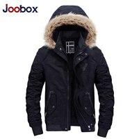 JOOBOX Outono Inverno 100% jaquetas de Algodão Dos Homens Casuais engrossar casacos Quentes de Alta qualidade Homens parkas gola de pele com capuz Exército Verde