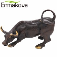 ERMAKOVA Brass Ox Wall Street Bull Figurine Charging Stock Market Bull Statue Feng Shui Sculpture Home Desk Office Decor Gift