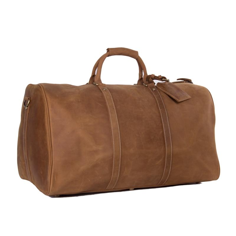ROCKCOW Large Vintage Style Genuine Leather Duffle Bag Weekend Bag Holdall 12027