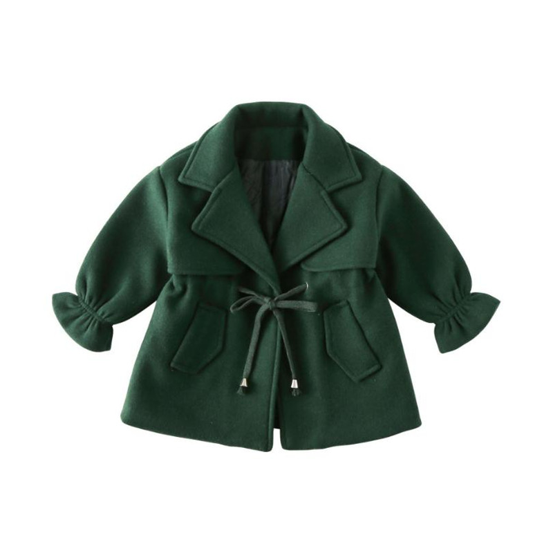 DFXD Korean Toddler Girl Clothes 2018 Autumn Winter Kids Long Sleeve Green Turn Down Collar Thick Cardigan Coat Children Outwear stylish turn down collar long sleeve spliced cape coat for women