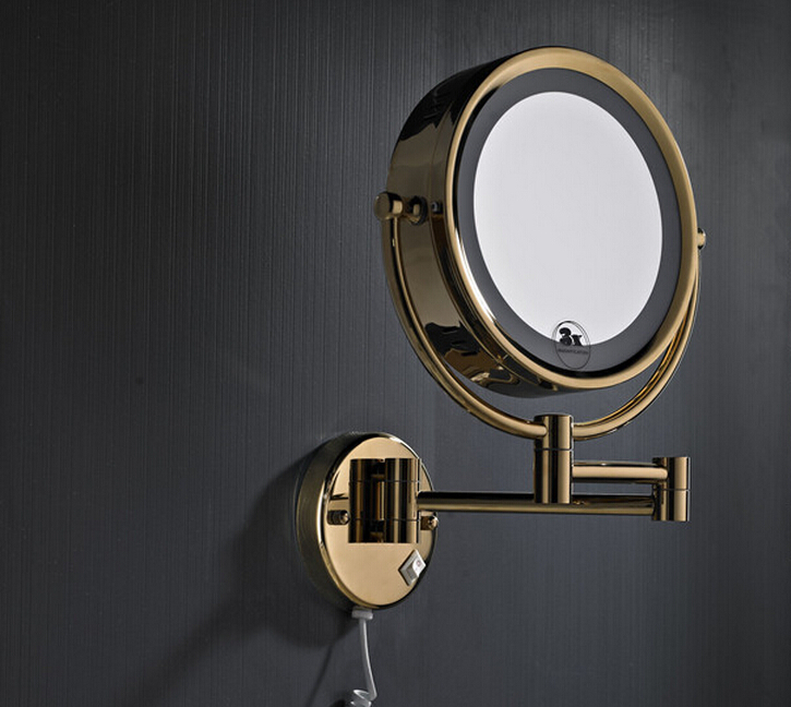 Free Shipping High Quality Solid Brass Gold Bathroom Led Cosmetic Mirror In Wall Mounted Mirrors Accessories BM007 free shipping high quality bathroom toilet paper holder wall mounted polished chrome