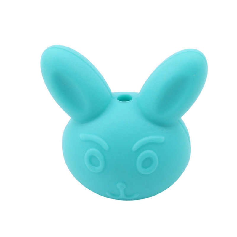 Rabbit Silicone Beads Teething Teether BPA Free Necklace Making Chew Baby Toy xl