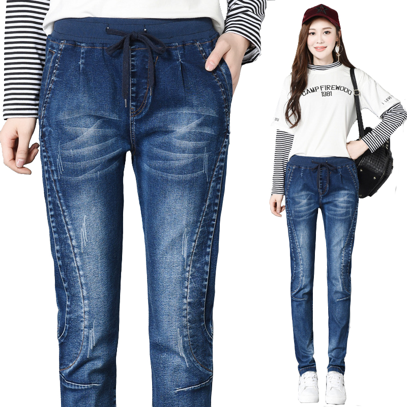 Women Large Size Slim-type Womens Jeans New Fashion Denim Pants Loose Elastic Waist Female High Quality Vintage Females Trousers female boyfriends vintage mom jeans woman rivets high waist jeans women plus size loose jeans womens pants denim womens quality