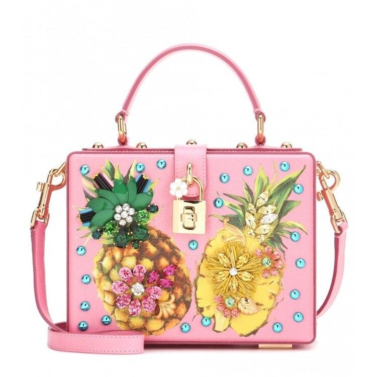 Luxury Designer Handbag Genuine Leather Women Pineapple Embellished Box Tote Bag (4)