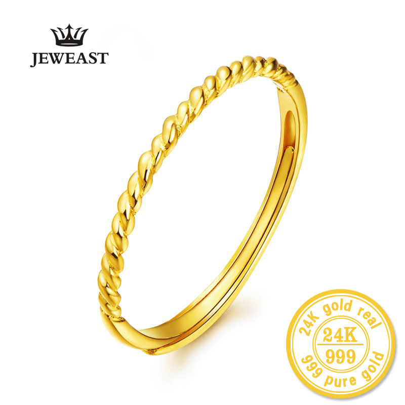 JLZB 24k Pure Gold Rings 999 Solid Yellow Wedding Engagement Hot Selling Fine Jewelry Female Unique Upscale 2020 New  Ring