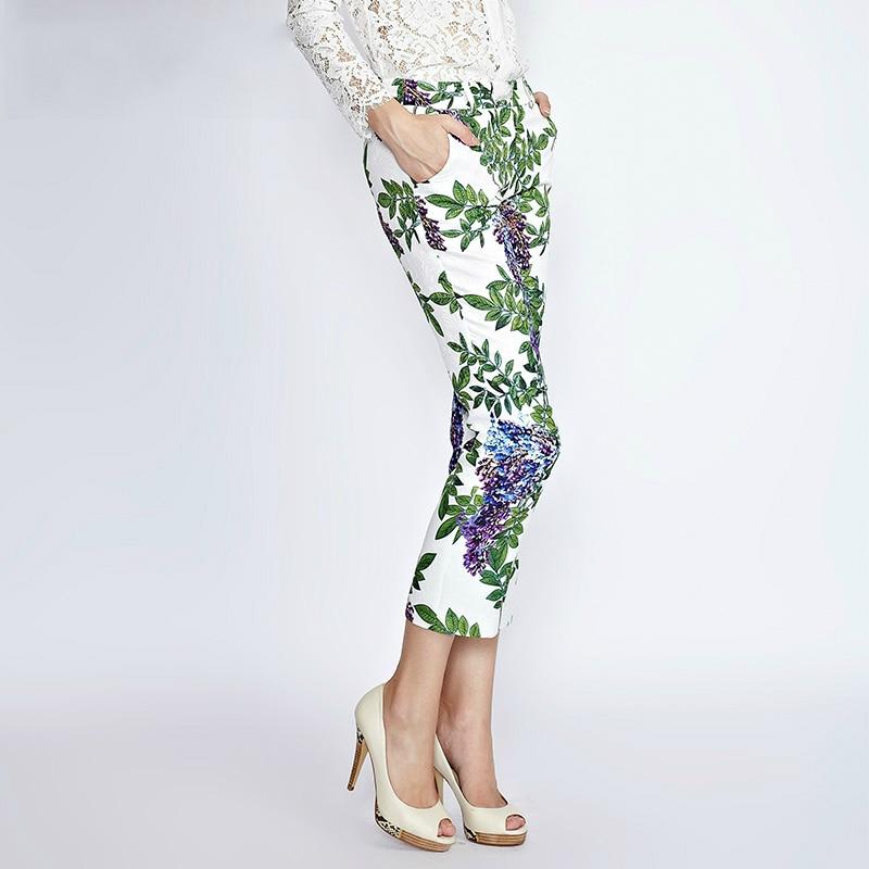Slim Impreso Flora Pantalones Flor Tobillo Casual longitud Verde Vintage A Mujeres Las Medida Wisteria wX6R8pWq