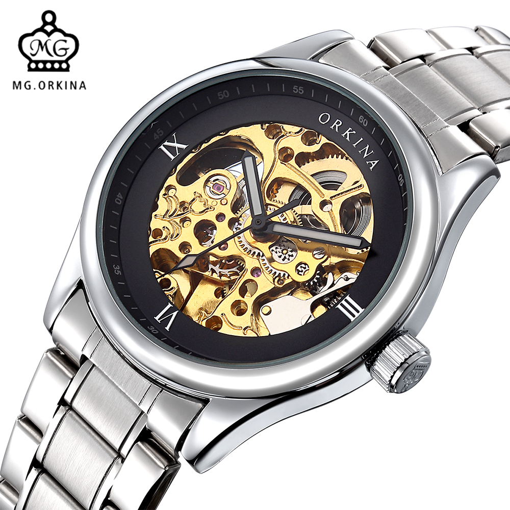 MG. ORKINA Silver Bezel Stainless Steel Strap Bracelet Watches Men Luxury Brand Automatic Swiss Mens Mechanical Wrist WatchesMG. ORKINA Silver Bezel Stainless Steel Strap Bracelet Watches Men Luxury Brand Automatic Swiss Mens Mechanical Wrist Watches