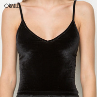 ORMELL Sexy Velvet Top Women Autumn Winter Style Sleeveless Black Beach Tank Tops Girl Fashion Party