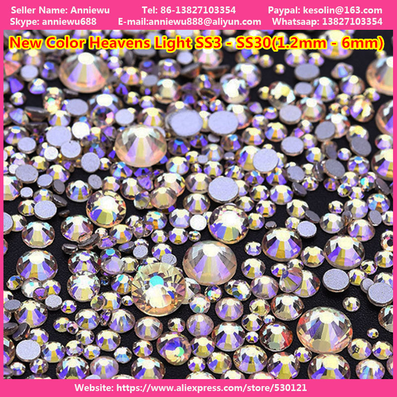 1440pcs New Colors strasssteine Rhinestone Non Hotfix Heaven Light Non Hot Fix crystal swarovsky Rhinestones Nail Strass Stones