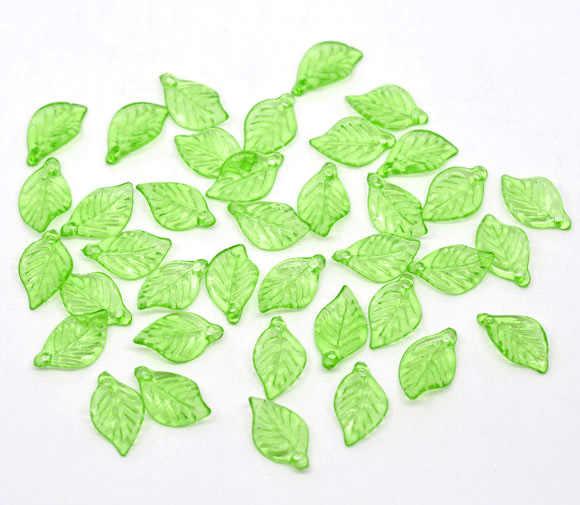 """อะคริลิคเสน่ห์จี้ใบไม้สีเขียวอ่อน 18 มิลลิเมตร (6/8 """") x 11 มิลลิเมตร (3/8""""), 50 ชิ้นใหม่"""