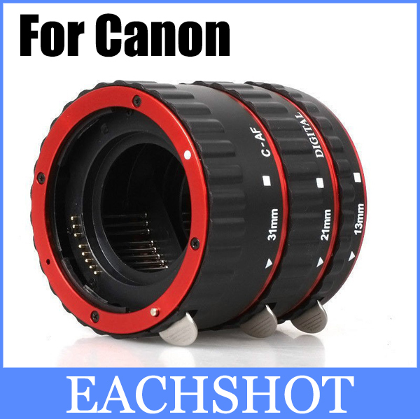 Red Metal Mount Auto Focus AF Macro Extension Tube/Ring for Kenko Canon EF-S Lens T5i T4i T3i T2i 100D 60D 70D 550D 600D 6D 7D