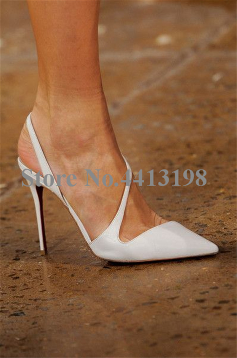Модные весенние вечерние туфли лодочки белого цвета с острым носком на очень высоком тонком каблуке, женские туфли лодочки, повседневная женская обувь без шнуровки на высоком каблуке с открытой спиной - 3