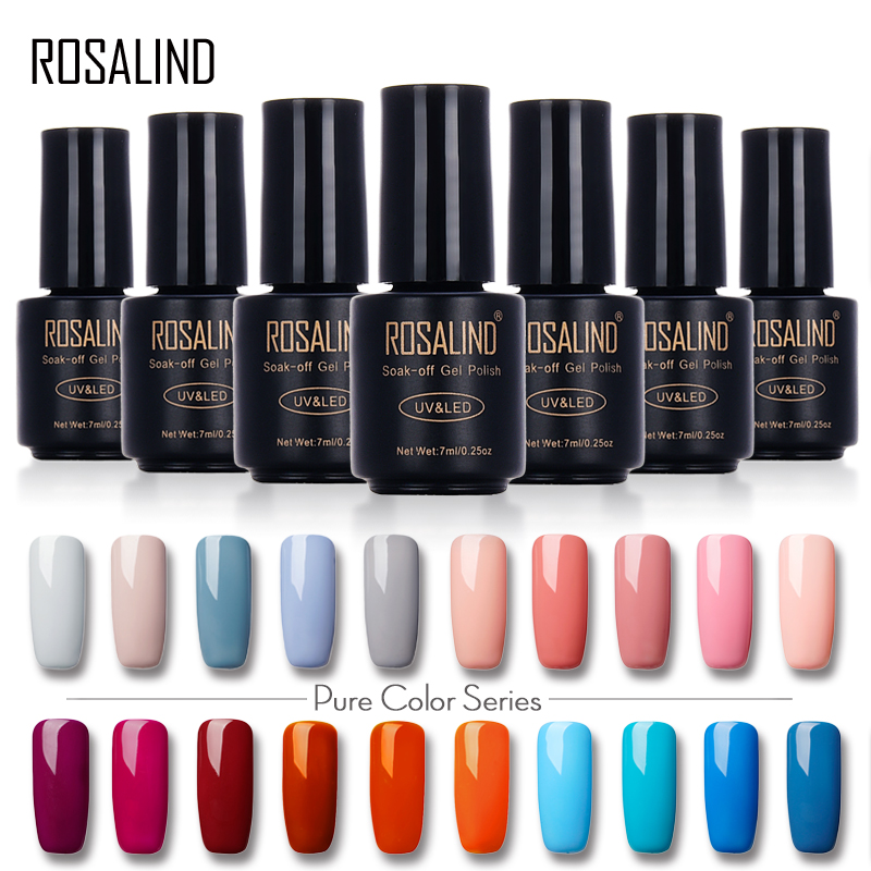 ROSALIND 7ML Nail Polish Gorgeous Color Nail Gel Polish Vernis Semi Permanent Top Coat Base Coat Gel Nail Varnishes gel lacquer