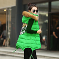 2016 autumn and winter fur collar medium-long cotton vest female outerwear down cotton plus size thermal slim vest outerwear top