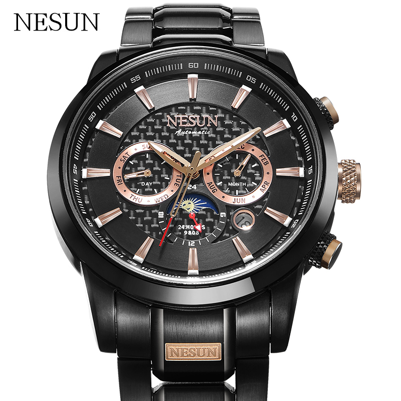 NESUN Fashion Dress Men Automatic Mechanical Wristwatches Waterproof Sapphire Luxury Brand Sports Watches Male Relogio Masculino loreo black genuine leather 200m diving military mechanical luxury men sports watches fashion automatic wristwatches male
