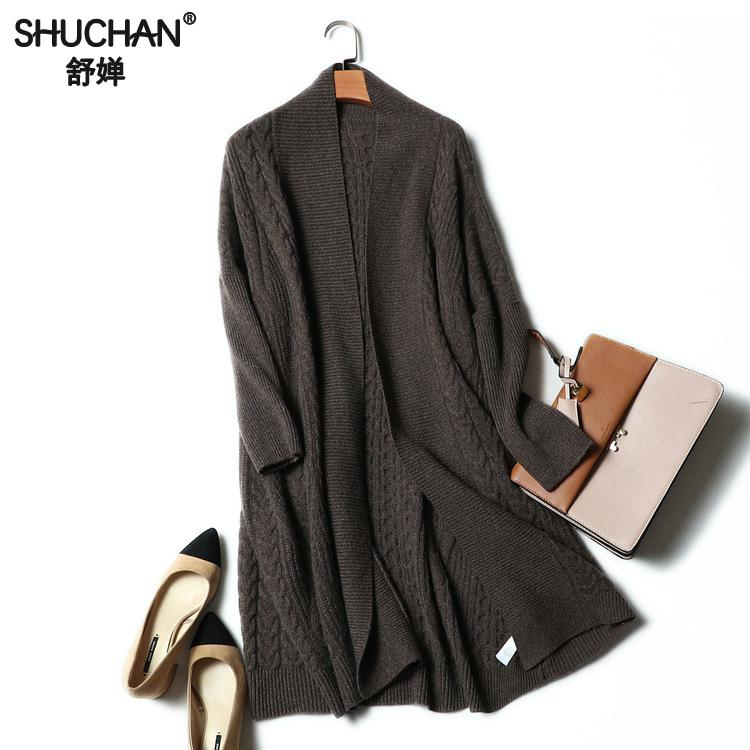 SHUCHAN Long Cardigans Sweaters For Women V-neck Open Stitch Thick Warm Winter 100% Cashmere Women's Jacket 2017 17466