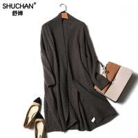Shuchan длинные Кардиганы для женщин Свитеры для женщин для Для женщин v образным вырезом открыть стежка толстые теплые зимние 100% кашемир Для ж