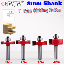 цены 1pc 8mm Shank T type bearings wood milling cutter Industrial Grade Rabbeting Bit woodworking tool router bits for wood