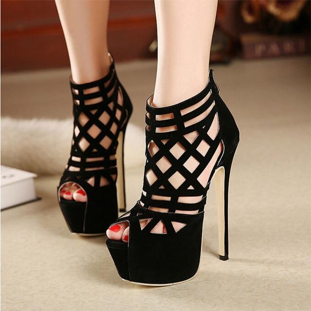2016 Vendas Quentes TAMANHO 35-40 Semana de Moda deslumbrante 16 CM super bonita alta-salto alto sandálias de Saltos Finos sexy Cut-Outs mulheres sapatos